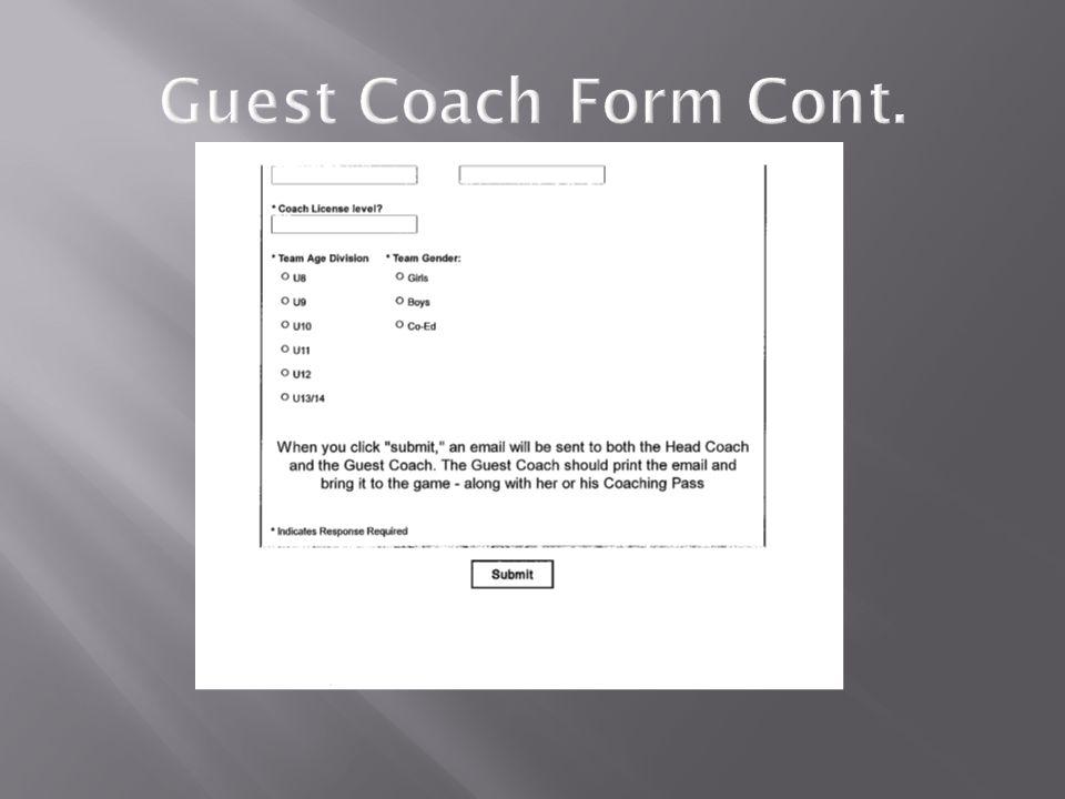 Guest Coach Form Cont.