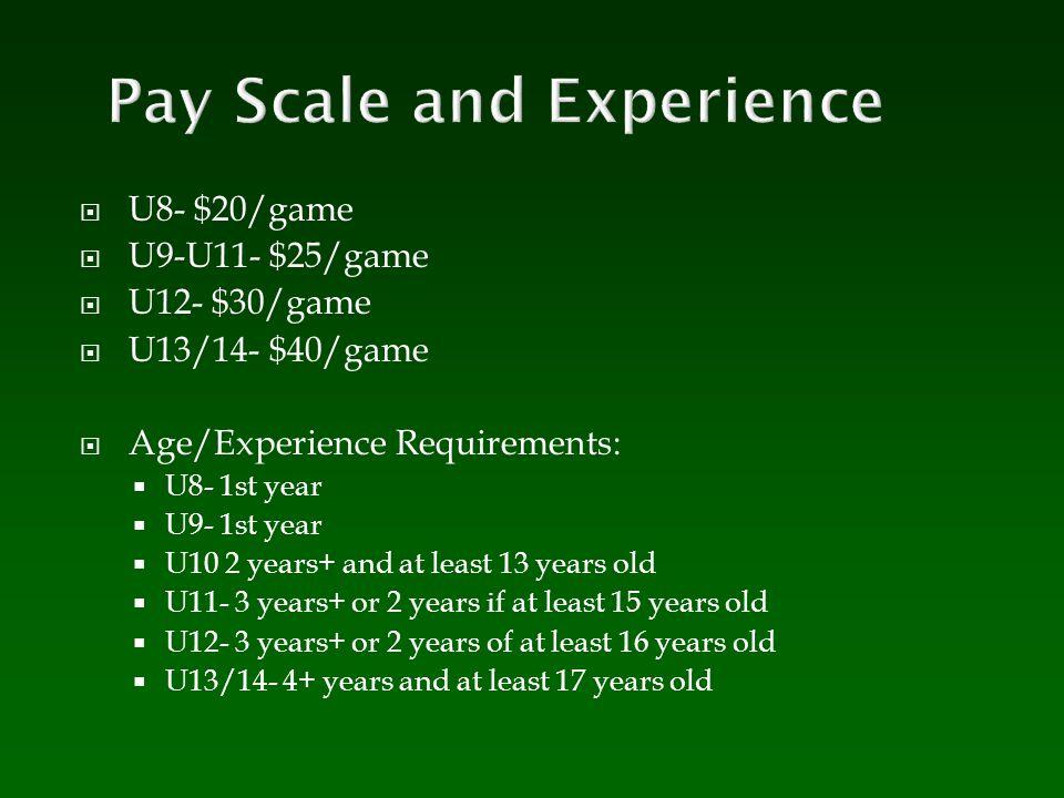  U8- $20/game  U9-U11- $25/game  U12- $30/game  U13/14- $40/game  Age/Experience Requirements:  U8- 1st year  U9- 1st year  U10 2 years+ and at least 13 years old  U11- 3 years+ or 2 years if at least 15 years old  U12- 3 years+ or 2 years of at least 16 years old  U13/14- 4+ years and at least 17 years old