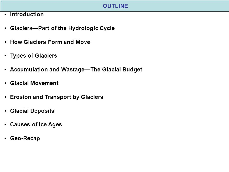 OUTLINE Introduction Glaciers—Part of the Hydrologic Cycle How Glaciers Form and Move Types of Glaciers Accumulation and Wastage—The Glacial Budget Gl