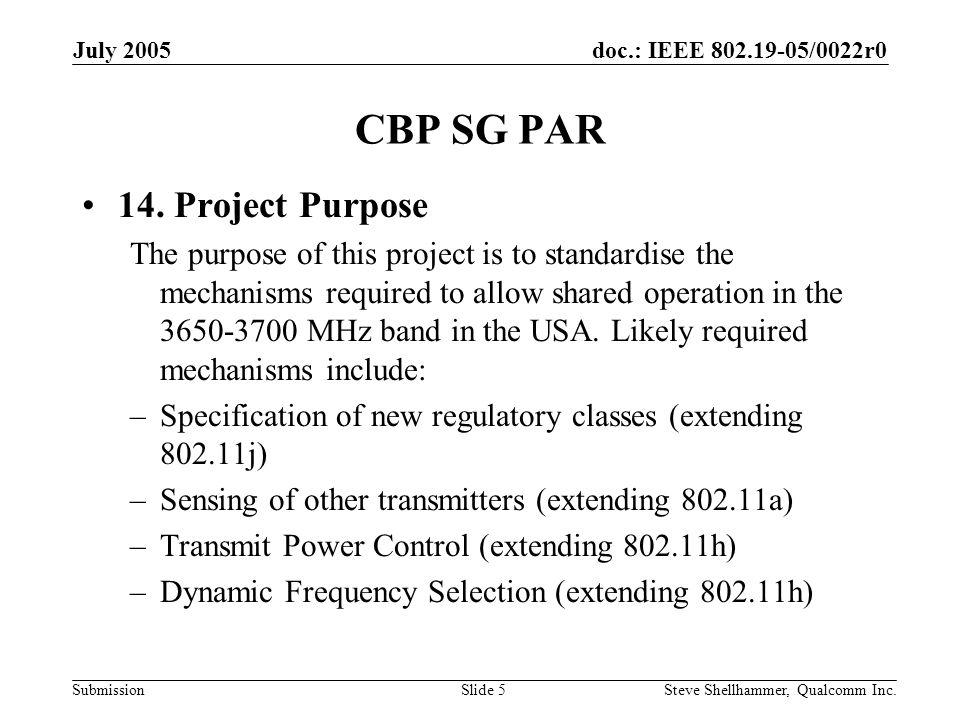 doc.: IEEE 802.19-05/0022r0 Submission July 2005 Steve Shellhammer, Qualcomm Inc.Slide 6 CBP SG PAR 15.