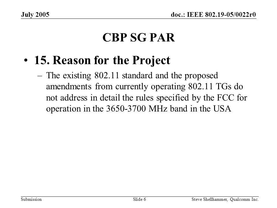 doc.: IEEE 802.19-05/0022r0 Submission July 2005 Steve Shellhammer, Qualcomm Inc.Slide 7 CBP SG PAR 18.
