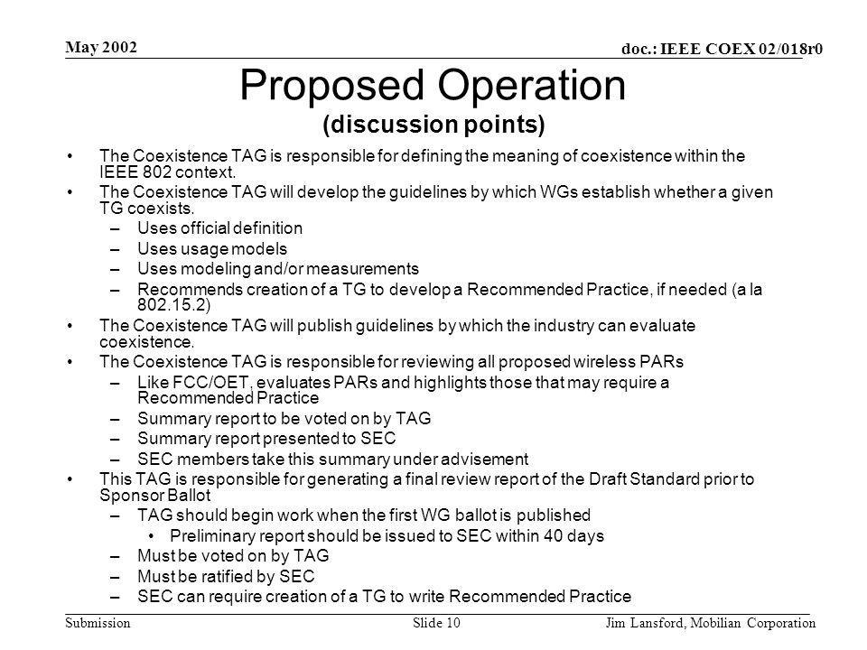 doc.: IEEE COEX 02/018r0 Submission May 2002 Jim Lansford, Mobilian CorporationSlide 10 Proposed Operation (discussion points) The Coexistence TAG is