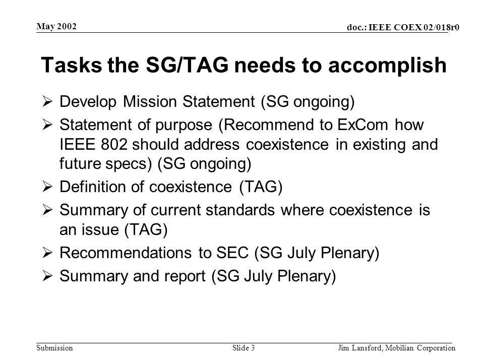 doc.: IEEE COEX 02/018r0 Submission May 2002 Jim Lansford, Mobilian CorporationSlide 3 Tasks the SG/TAG needs to accomplish  Develop Mission Statemen