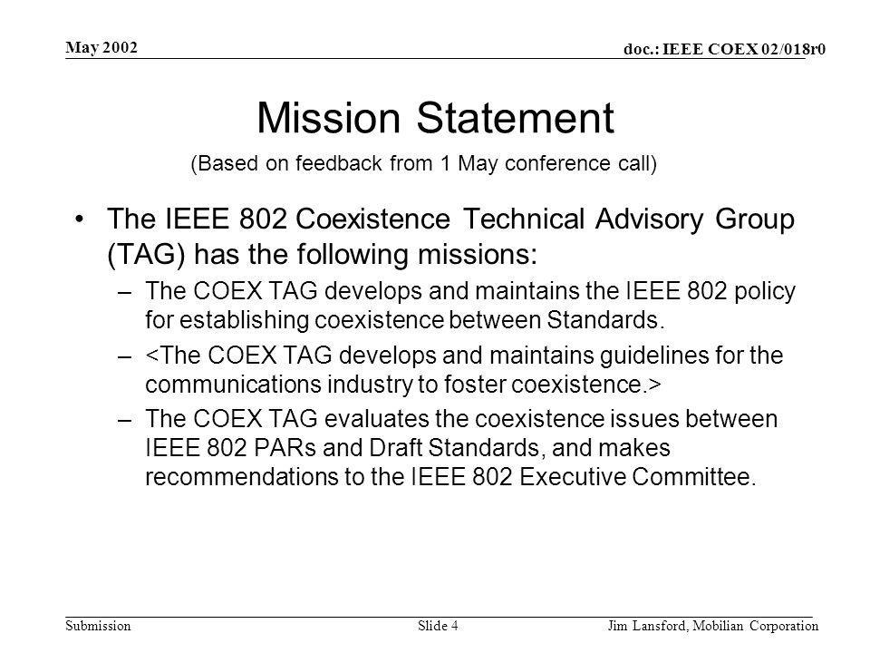 doc.: IEEE COEX 02/018r0 Submission May 2002 Jim Lansford, Mobilian CorporationSlide 4 Mission Statement The IEEE 802 Coexistence Technical Advisory Group (TAG) has the following missions: –The COEX TAG develops and maintains the IEEE 802 policy for establishing coexistence between Standards.