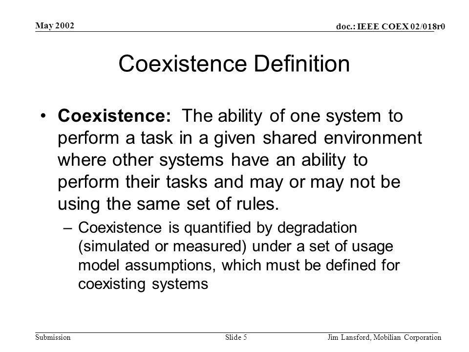 doc.: IEEE COEX 02/018r0 Submission May 2002 Jim Lansford, Mobilian CorporationSlide 5 Coexistence Definition Coexistence: The ability of one system to perform a task in a given shared environment where other systems have an ability to perform their tasks and may or may not be using the same set of rules.