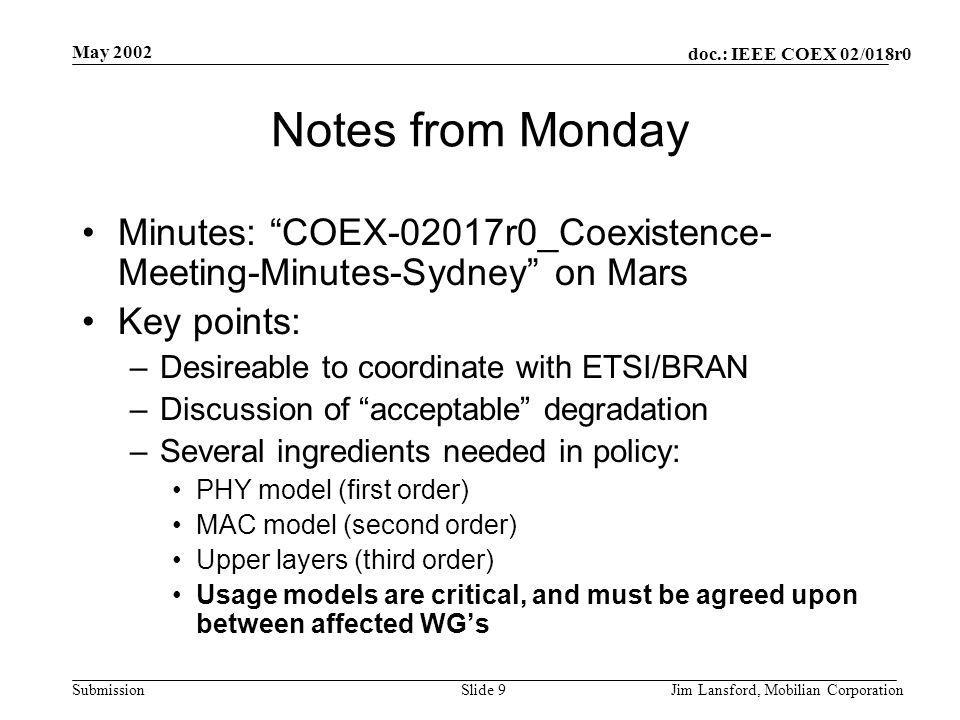 """doc.: IEEE COEX 02/018r0 Submission May 2002 Jim Lansford, Mobilian CorporationSlide 9 Notes from Monday Minutes: """"COEX-02017r0_Coexistence- Meeting-M"""