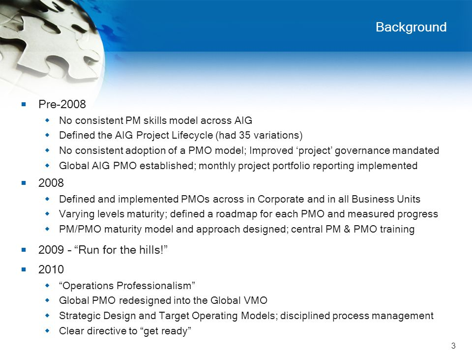 3 Background  Pre-2008  No consistent PM skills model across AIG  Defined the AIG Project Lifecycle (had 35 variations)  No consistent adoption of