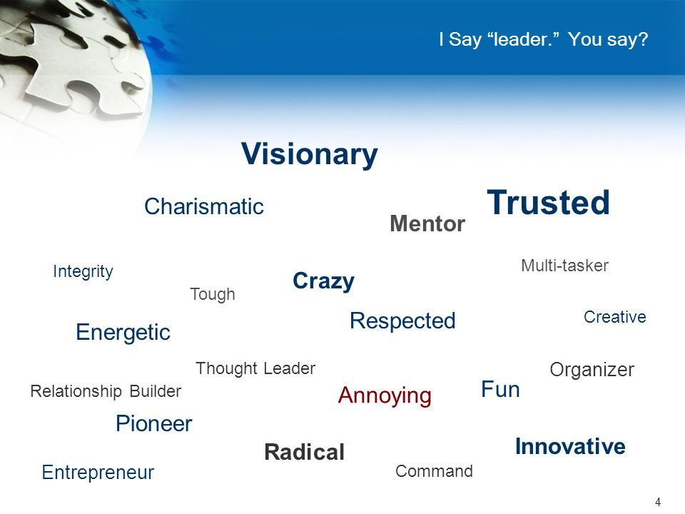 "4 I Say ""leader."" You say? Visionary Charismatic Tough Mentor Annoying Energetic Trusted Multi-tasker Crazy Fun Pioneer Innovative Radical Thought Lea"