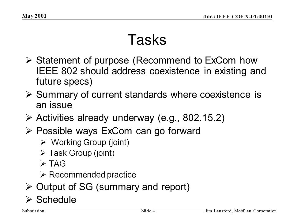 doc.: IEEE COEX-01/001r0 Submission May 2001 Jim Lansford, Mobilian CorporationSlide 4 Tasks  Statement of purpose (Recommend to ExCom how IEEE 802 s