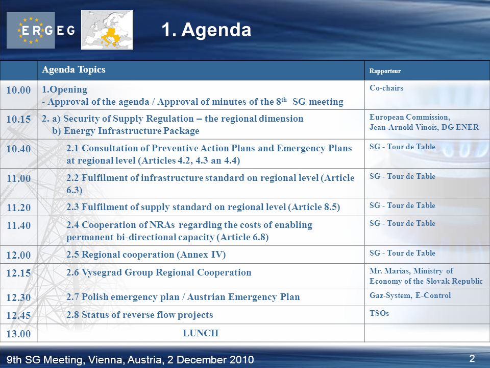 2 9th SG Meeting, Vienna, Austria, 2 December 2010 1. Agenda Agenda Topics Rapporteur 10.00 1.Opening - Approval of the agenda / Approval of minutes o