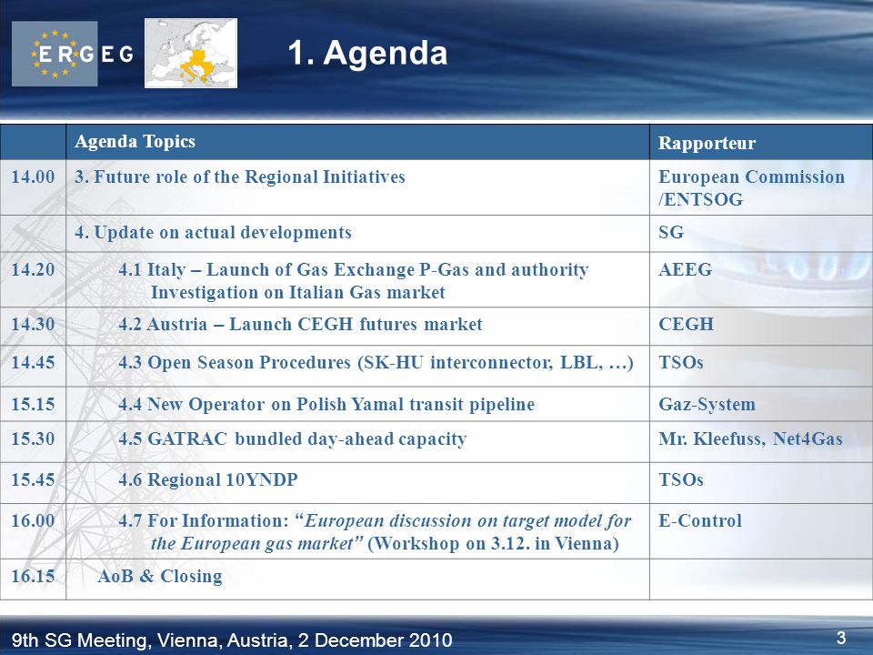 3 9th SG Meeting, Vienna, Austria, 2 December 2010 1. Agenda Agenda Topics Rapporteur 14.003. Future role of the Regional InitiativesEuropean Commissi