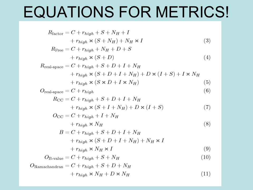 EQUATIONS FOR METRICS!