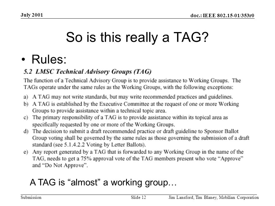 doc.: IEEE 802.15-01/353r0 Submission July 2001 Jim Lansford, Tim Blaney, Mobilian CorporationSlide 13 Summary If this is not a TAG, then we likely need a rules change Discussions from this meeting will be rolled into a summary presentation Thursday evening before submission to ExCom on Friday