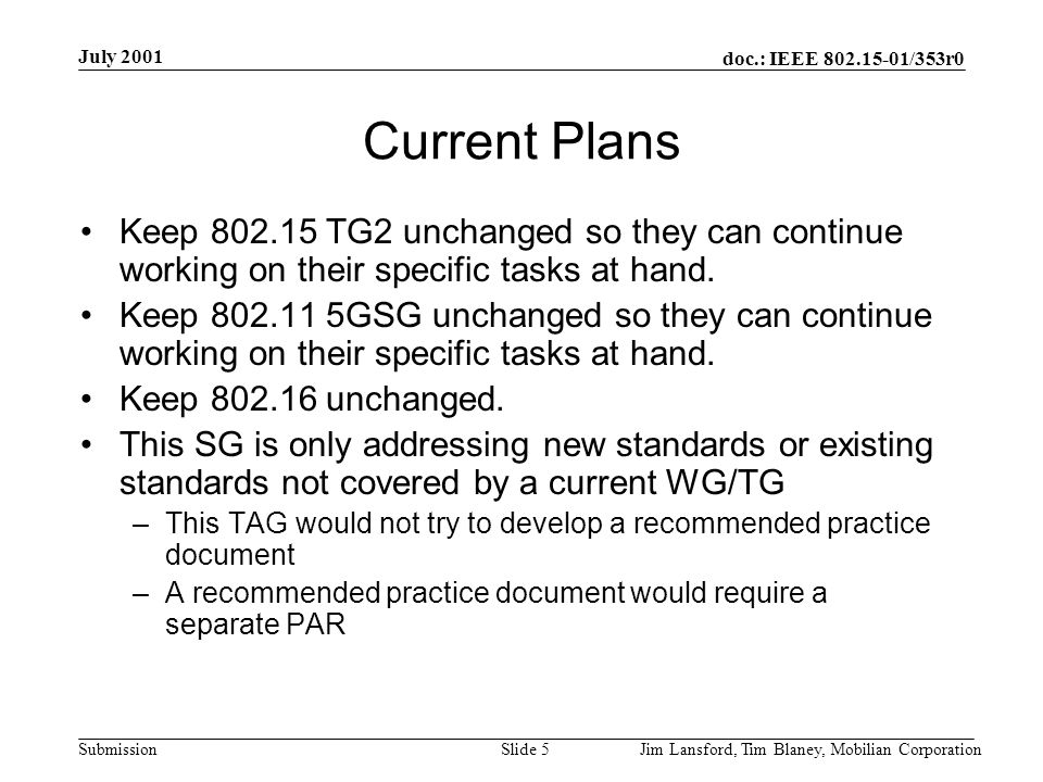 doc.: IEEE 802.15-01/353r0 Submission July 2001 Jim Lansford, Tim Blaney, Mobilian CorporationSlide 6 Update of Activities 2 conference calls held Good feedback –TAG proposal supported –Membership and voting rules uncertain Fundamental question is whether the role of this group as defined by the attendees is consistent with a TAG or some other entity –Formal mission statement needed