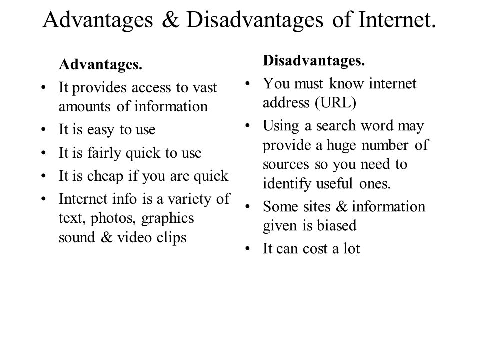 disadvantage of internet speech Essay on advantages and disadvantages of television , essay on tv , speech on advantages and disadvantages of television.