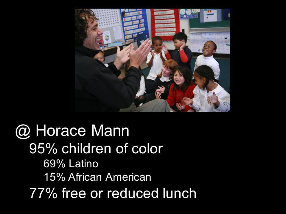 77% free or reduced lunch @ Horace Mann 95% children of color 69% Latino 15% African American