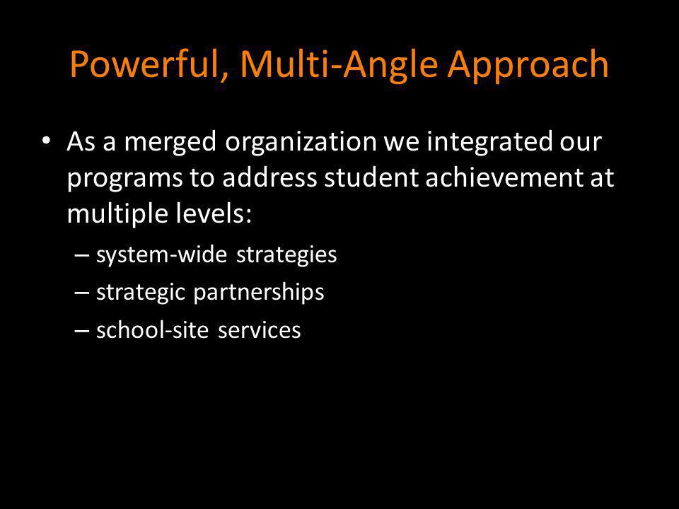 Powerful, Multi-Angle Approach As a merged organization we integrated our programs to address student achievement at multiple levels: – system-wide st