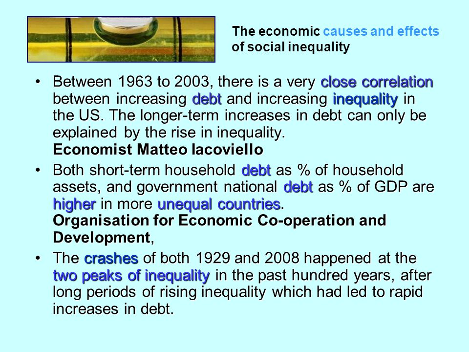 Between 1963 to 2003, there is a very close correlation between increasing debt and increasing inequality in the US.