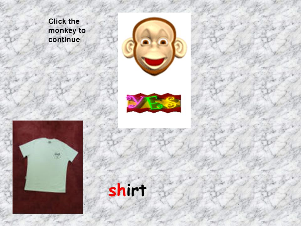 Click the monkey to continue shirt