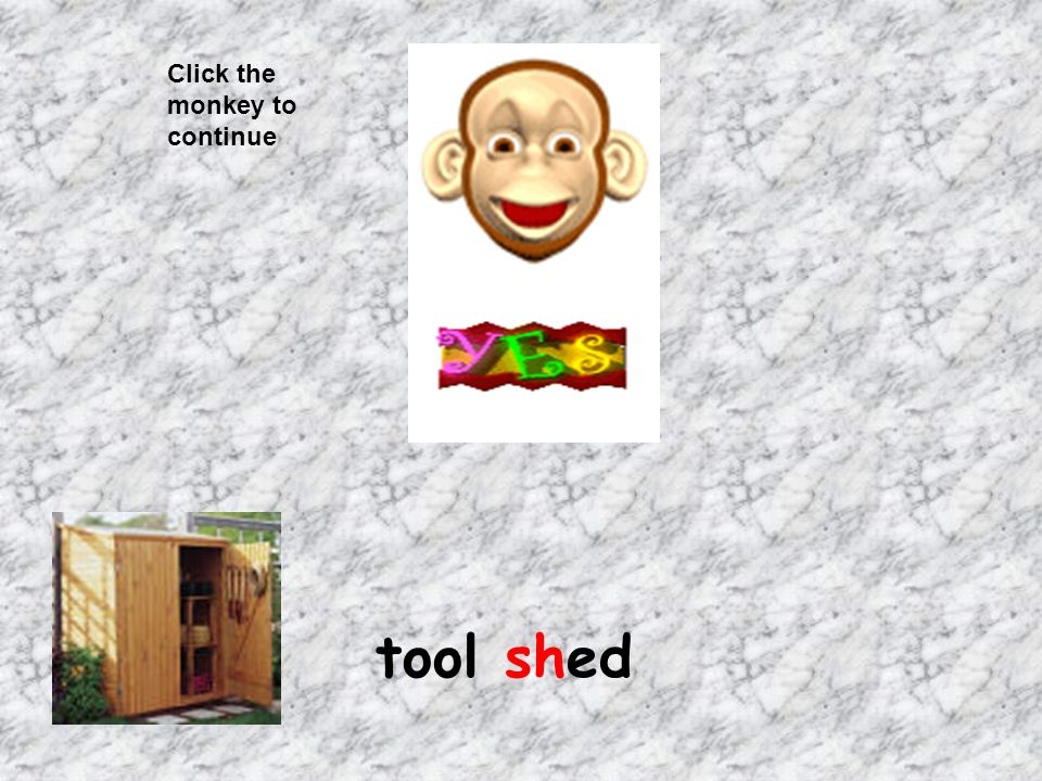 Click the monkey to continue tool shed
