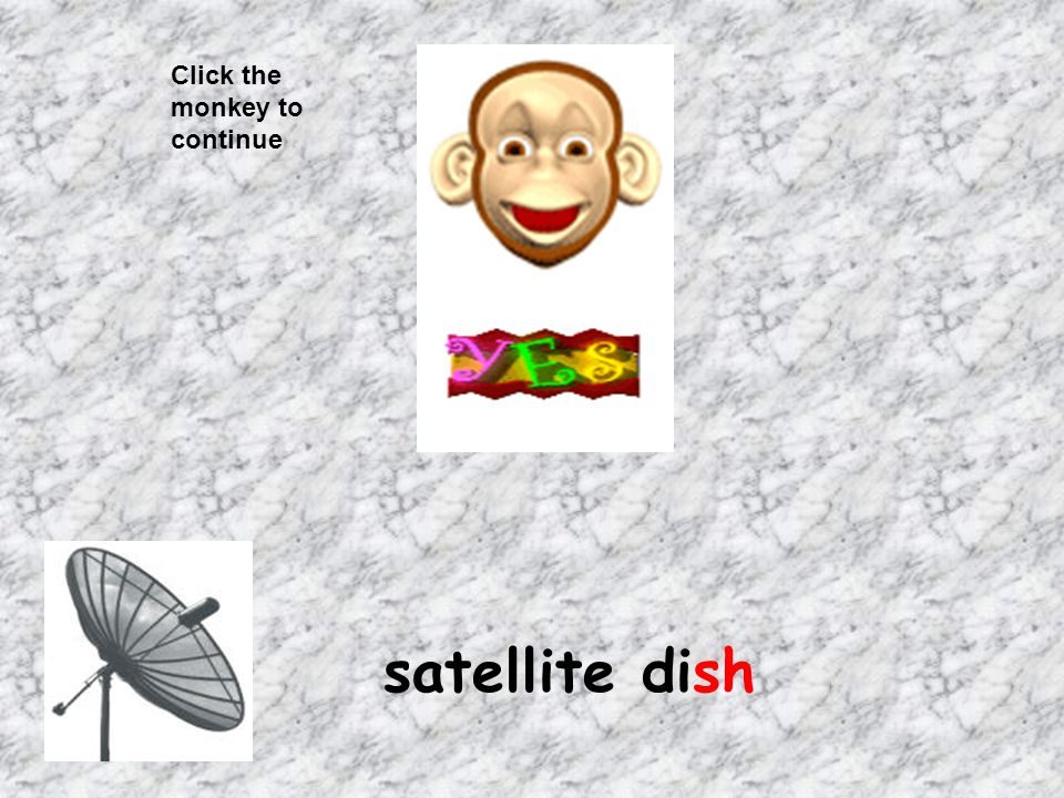 Click the monkey to continue satellite dish