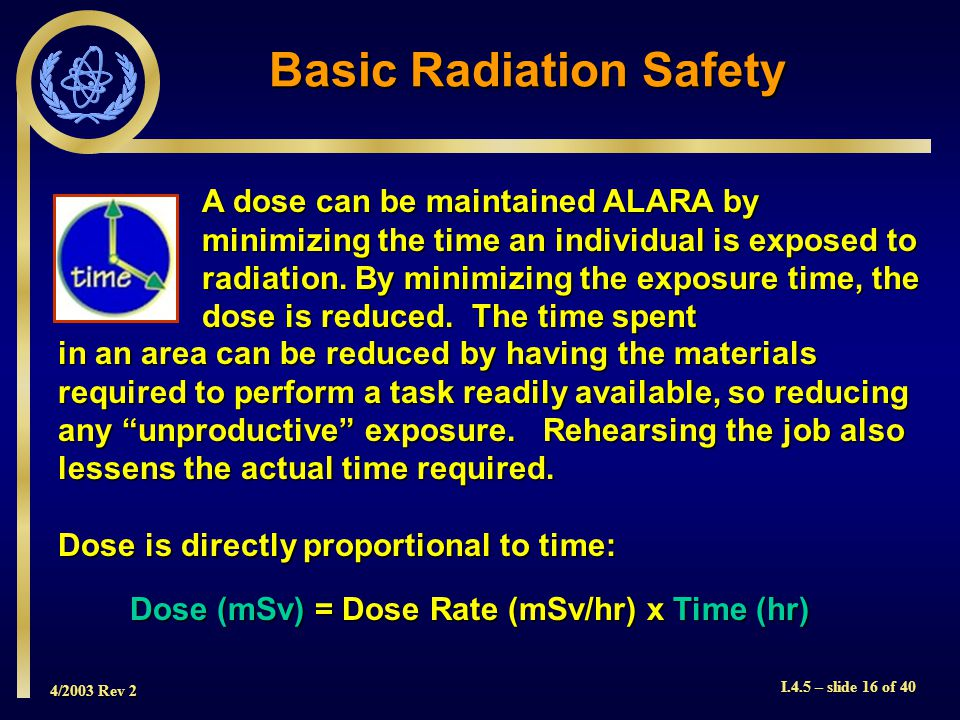 4/2003 Rev 2 I.4.5 – slide 16 of 40 A dose can be maintained ALARA by minimizing the time an individual is exposed to radiation.
