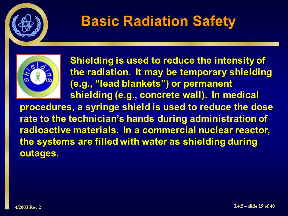 4/2003 Rev 2 I.4.5 – slide 19 of 40 Shielding is used to reduce the intensity of the radiation.