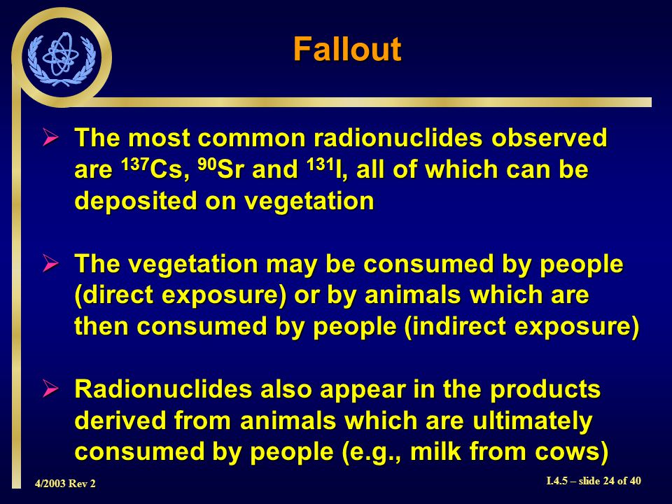 4/2003 Rev 2 I.4.5 – slide 24 of 40 Fallout  The most common radionuclides observed are 137 Cs, 90 Sr and 131 I, all of which can be deposited on vegetation  The vegetation may be consumed by people (direct exposure) or by animals which are then consumed by people (indirect exposure)  Radionuclides also appear in the products derived from animals which are ultimately consumed by people (e.g., milk from cows)
