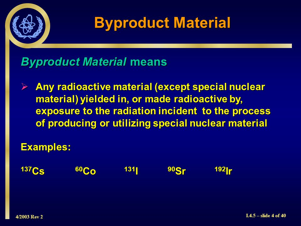 4/2003 Rev 2 I.4.5 – slide 4 of 40 Byproduct Material Byproduct Material means  Any radioactive material (except special nuclear material) yielded in, or made radioactive by, exposure to the radiation incident to the process of producing or utilizing special nuclear material Examples: 137 Cs 60 Co 131 I 90 Sr 192 Ir