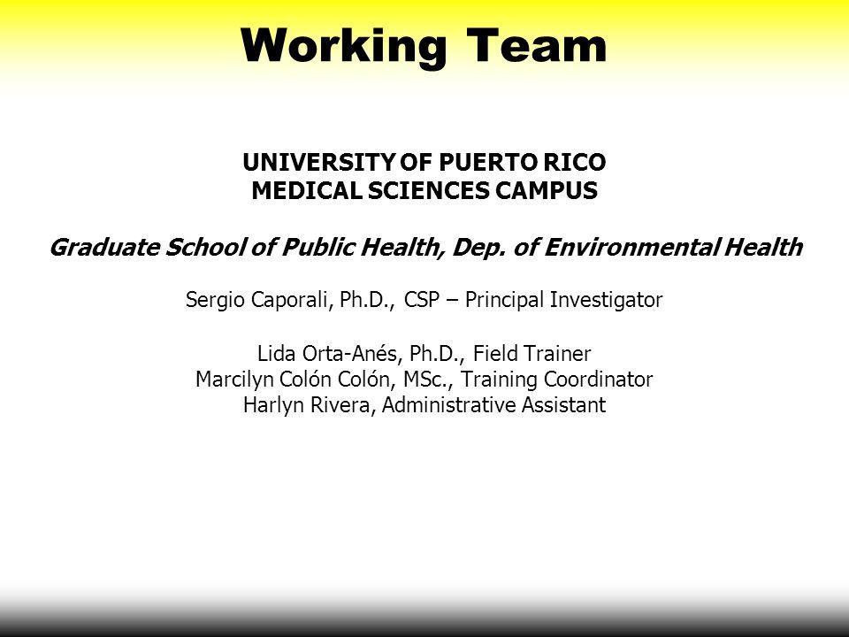 Working Team UNIVERSITY OF PUERTO RICO MEDICAL SCIENCES CAMPUS Graduate School of Public Health, Dep. of Environmental Health Sergio Caporali, Ph.D.,