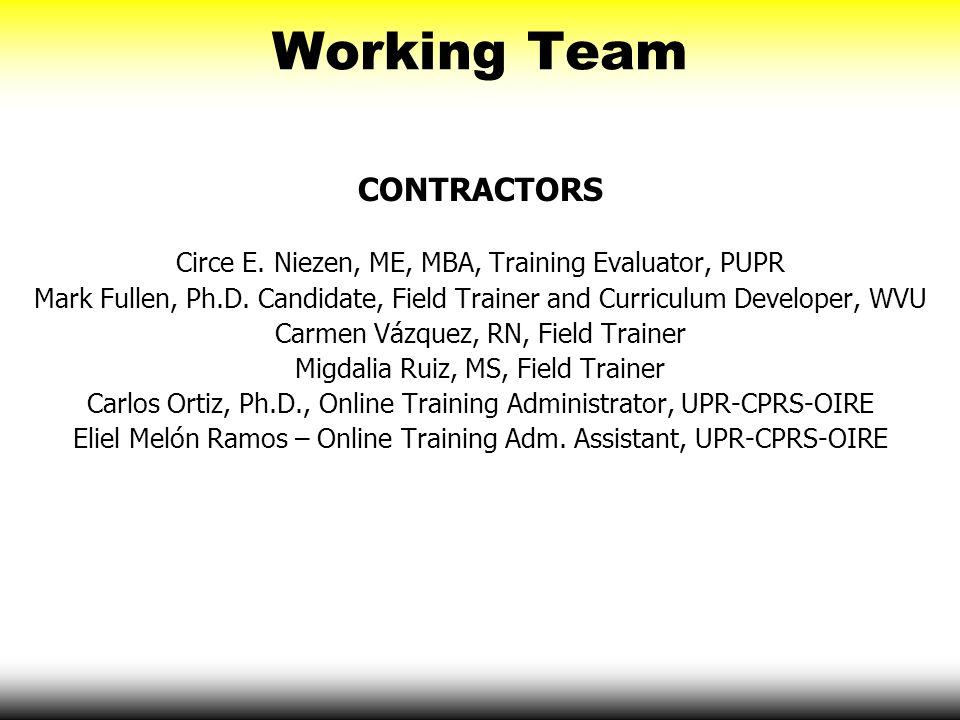 Working Team CONTRACTORS Circe E. Niezen, ME, MBA, Training Evaluator, PUPR Mark Fullen, Ph.D. Candidate, Field Trainer and Curriculum Developer, WVU