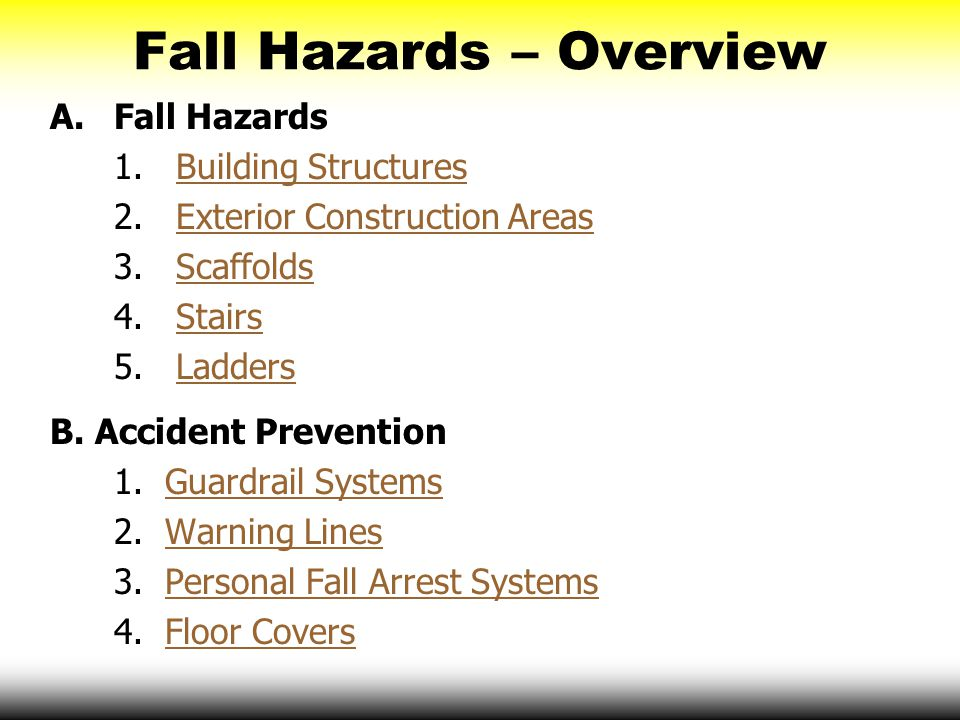 Fall Hazards – Overview A.Fall Hazards 1. Building StructuresBuilding Structures 2. Exterior Construction AreasExterior Construction Areas 3. Scaffold