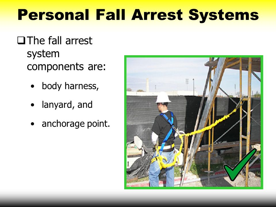 Personal Fall Arrest Systems  The fall arrest system components are: body harness, lanyard, and anchorage point.