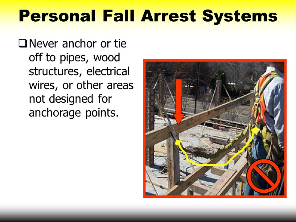 Personal Fall Arrest Systems  Never anchor or tie off to pipes, wood structures, electrical wires, or other areas not designed for anchorage points.
