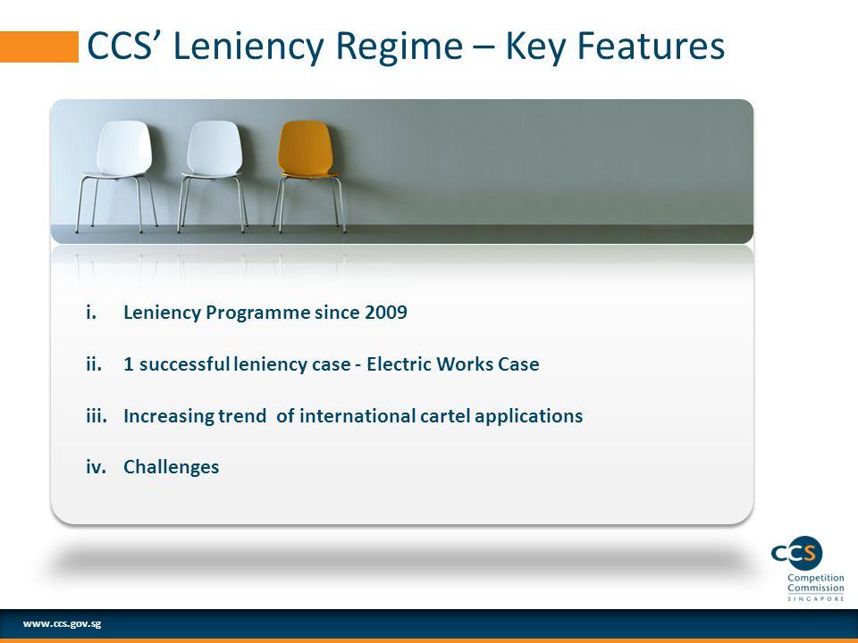 www.ccs.gov.sg CCS' Leniency Regime – Key Features i.Leniency Programme since 2009 ii.1 successful leniency case - Electric Works Case iii.Increasing trend of international cartel applications iv.Challenges