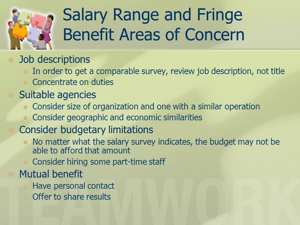 Salary Range and Fringe Benefit Areas of Concern Job descriptions In order to get a comparable survey, review job description, not title Concentrate o