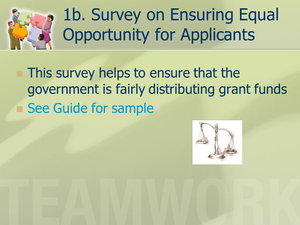 1b. Survey on Ensuring Equal Opportunity for Applicants This survey helps to ensure that the government is fairly distributing grant funds See Guide f