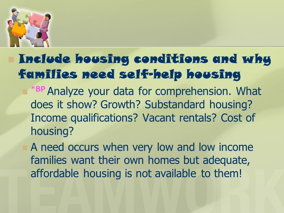Include housing conditions and why families need self-help housing *BP Analyze your data for comprehension. What does it show? Growth? Substandard hou