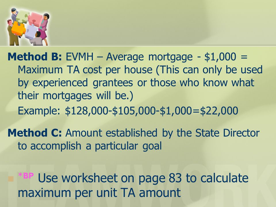 Method B: EVMH – Average mortgage - $1,000 = Maximum TA cost per house (This can only be used by experienced grantees or those who know what their mor