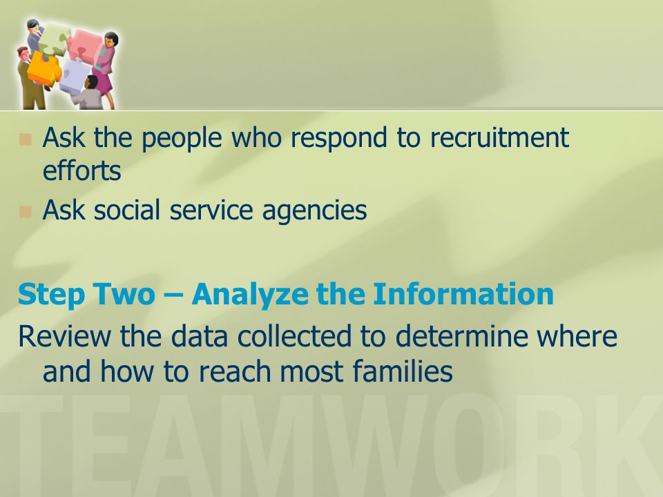 Ask the people who respond to recruitment efforts Ask social service agencies Step Two – Analyze the Information Review the data collected to determin