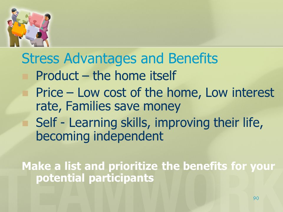 Stress Advantages and Benefits Product – the home itself Price – Low cost of the home, Low interest rate, Families save money Self - Learning skills,