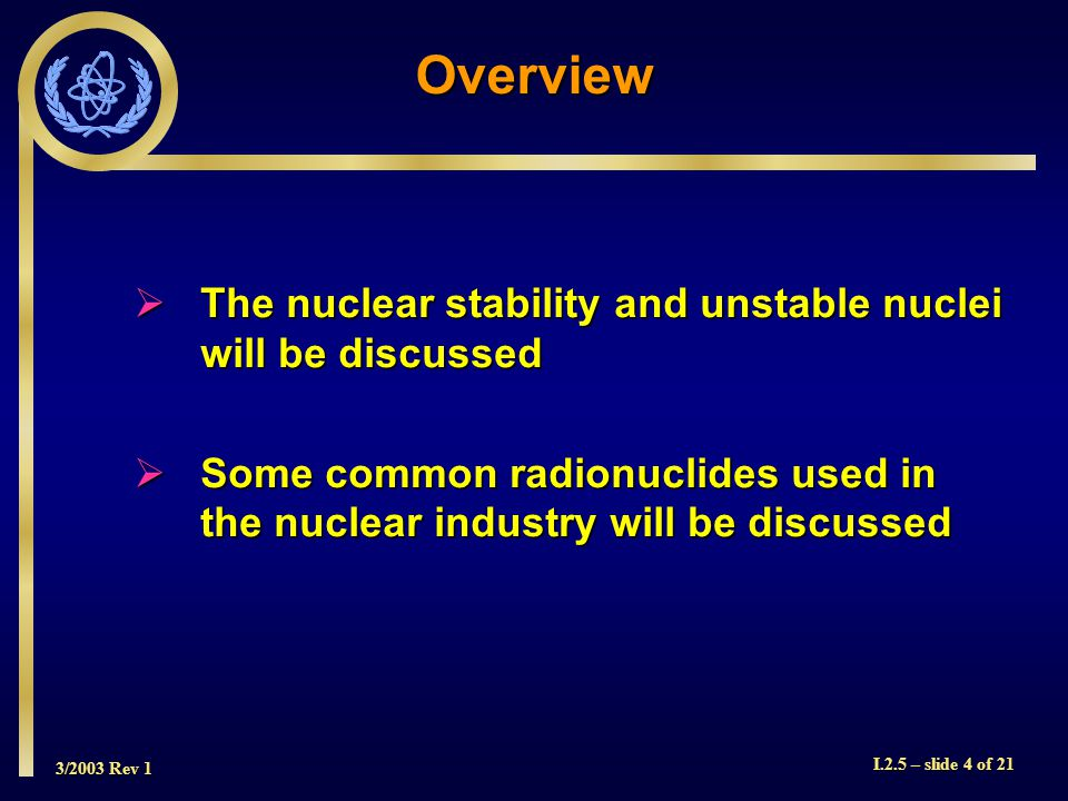 3/2003 Rev 1 I.2.5 – slide 5 of 21 Nuclear Stability  A stable or non-radioactive nuclide is one whose atoms do not decay  If one plots the stable nuclei, an interesting pattern emerges (shown in next slide)  The graph in the next slide shows a plot of neutron number N vs atomic number Z for the stable nuclei