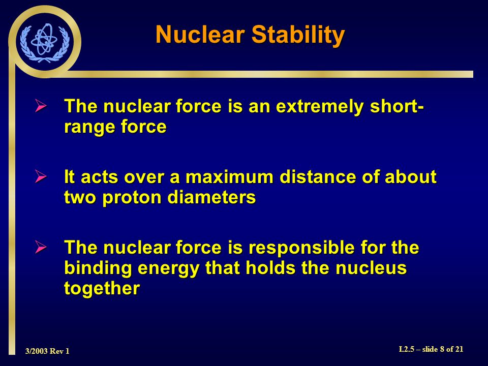 3/2003 Rev 1 I.2.5 – slide 8 of 21  The nuclear force is an extremely short- range force  It acts over a maximum distance of about two proton diameters  The nuclear force is responsible for the binding energy that holds the nucleus together Nuclear Stability