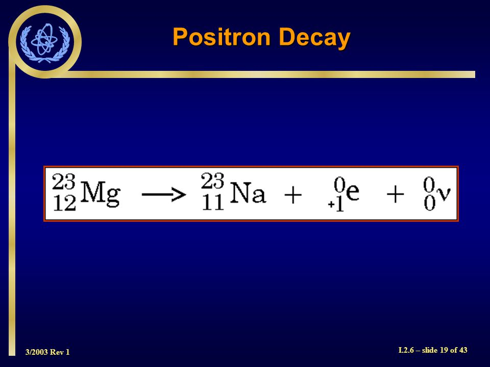 3/2003 Rev 1 I.2.6 – slide 19 of 43 Positron Decay