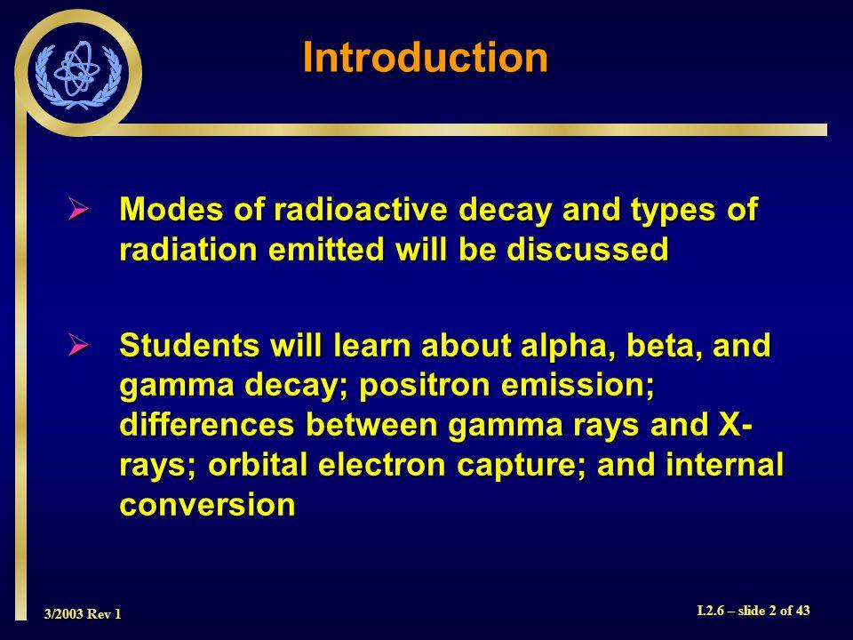 3/2003 Rev 1 I.2.6 – slide 13 of 43 Beta Decay of 99 Mo