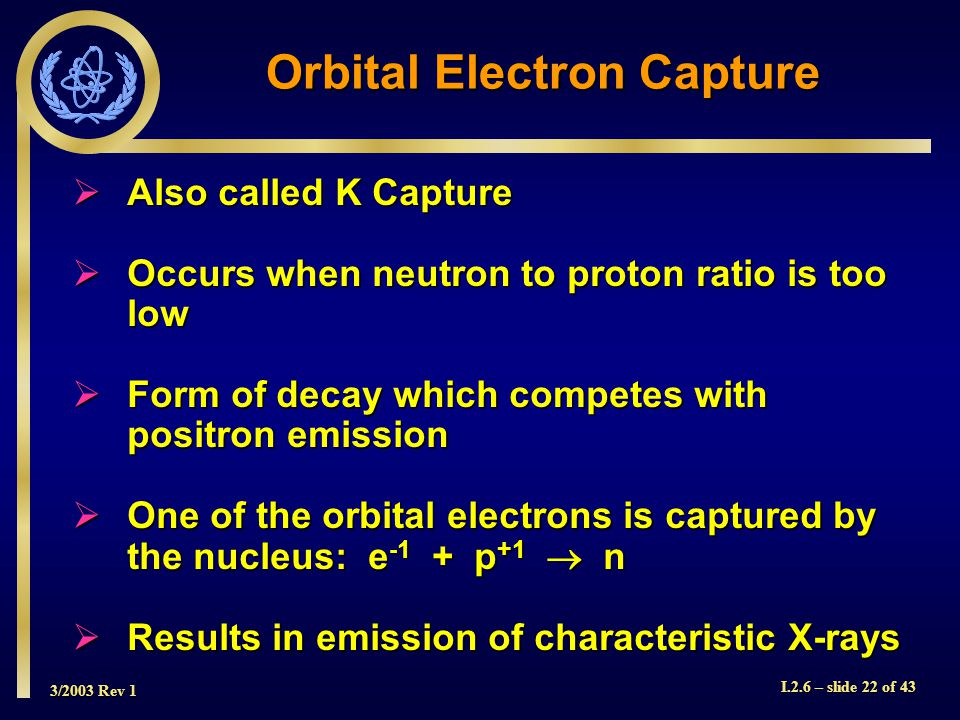 3/2003 Rev 1 I.2.6 – slide 22 of 43 Orbital Electron Capture  Also called K Capture  Occurs when neutron to proton ratio is too low  Form of decay which competes with positron emission  One of the orbital electrons is captured by the nucleus: e -1 + p +1  n  Results in emission of characteristic X-rays