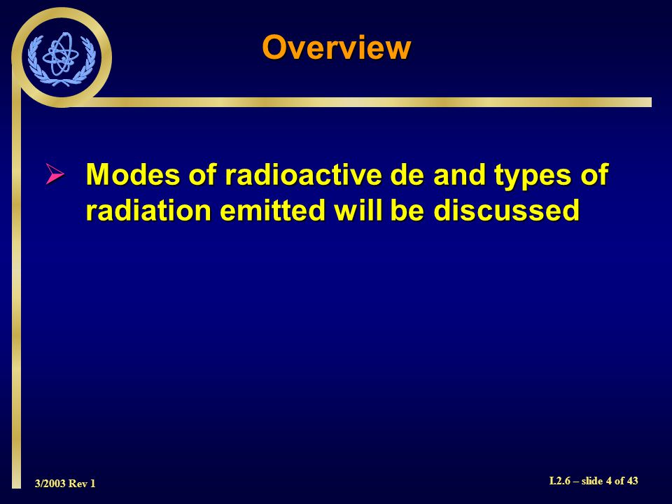 3/2003 Rev 1 I.2.6 – slide 4 of 43 Overview  Modes of radioactive de and types of radiation emitted will be discussed
