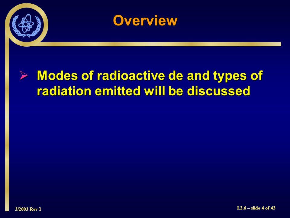 3/2003 Rev 1 I.2.6 – slide 25 of 43 radiation path ejected electron +1 ionized atomIonization