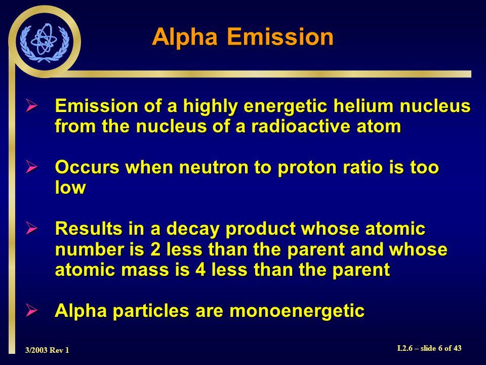 3/2003 Rev 1 I.2.6 – slide 17 of 43 Positron (Beta + ) Emission