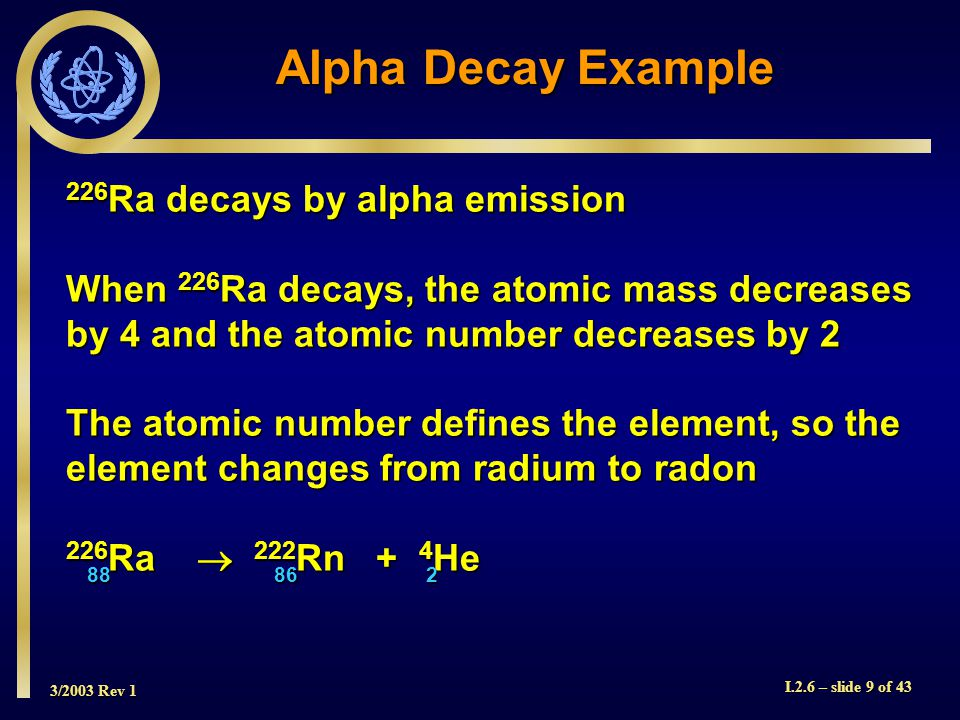 3/2003 Rev 1 I.2.6 – slide 9 of 43 Alpha Decay Example 226 Ra decays by alpha emission When 226 Ra decays, the atomic mass decreases by 4 and the atomic number decreases by 2 The atomic number defines the element, so the element changes from radium to radon 226 Ra  222 Rn + 4 He 28688